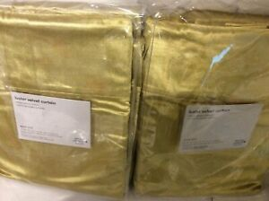 West Elm Two (2) Luster Velvet Curtains 48x96 Wasabi NWT Green Unlined