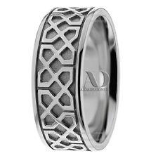 Pure 10K White Gold 8mm Wide Men's Celtic Knot Design Wedding Band Ring