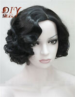 Ladies Daily Full Wig Black Short Curly Wavy Women Hair Cosplay Party Wigs + Cap
