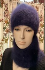 Hand knit beanie hat, 100% French  Angora  and Neck warmer scarf, hand knitted!