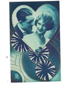 ME2728 ART DECO ROARING TWENTIES LOVE COUPLE IN FRAME RPPC BLUE COLORED