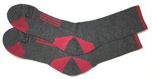 DURABILT 2-PAIR MERINO WOOL SOCKS CHARCOAL / RED SIZE MD (9-11) FIT 5-10 SHOE