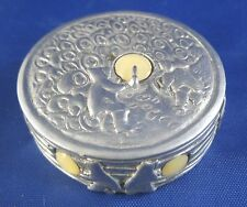 Inuk Brown Inuit Drummers Pewter and Mother of Pearl Small Box Gathering Pot