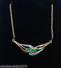 "18ct Gold Emerald & Diamond Necklace, 17"""