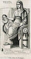 Vesta: Dea protettrice di Mugnai e Panettieri. Stampa Antica + Passepartout.1857