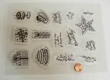 15 tampons plastique transparent Clear Stamps ANNIVERSAIRE Planche 20x15cm MOD5