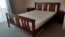 King size bed base. Solid wooden frame and base with twin bedside drawers.
