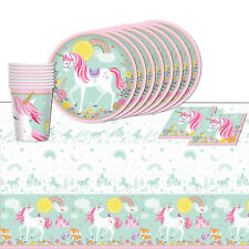 Magical Unicorn Tableware Birthday Party Supply Cup Plates Table cover 33pc