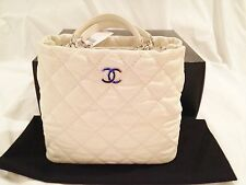 CHANEL White Lambskin Leather Shopping Tote Handbag Bag BNIB AUTH REBUILD TEXAS!