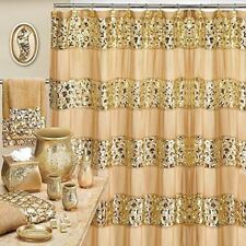 Popular Bath Sinatra Champagne and Gold 7 Piece Shower Curtain and Resin Wasteba
