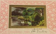 Postcard, Greetings From, Anne For Easter, Gold Embossed Swans Vintage S01
