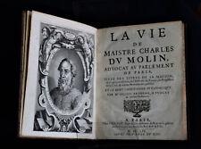 E.O. - 1654 - Julien BRODEAU - La Vie de Maistre Charles DU MOLIN - P. Rocolet
