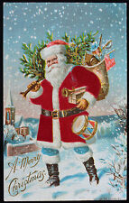 Christmas Santa Claus Silk Suit Bag of Toys Drum Tree Embossed Postcard