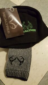 RealTree Wool Blend Socks & Beanie Black Lime Hat Men 9-13 USA