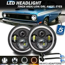 """2X 7"""" LED Headlights Sealed Halo DRL Angel Eyes for Oldsmobile Plymouth Porsche"""