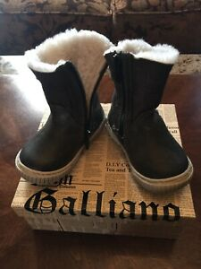 100% Authentic John Galliano Baby Boy Girl Leather Warm Boots Shoes Size 20 RARE