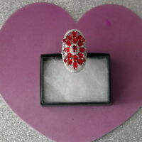 Gorgeous Blood Ruby & White CZ Silver Ring 9.8 Gr.Size N12  US 7.0 In Gift Box