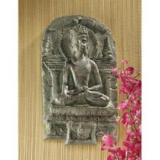 Enlightened Meditating Angkor Khmer Buddha Wall Sculpture