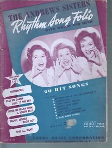 Andrews Sisters Rhythm Song Folio 20 Songs Sheet Music
