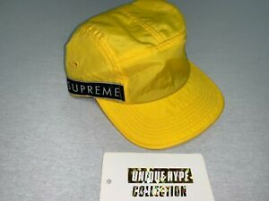 [PREOWNED] SUPREME SIDE TAPE LOGO CAMP CAP HAT 5 6 PANEL YELLOW GOLD STRAPBACK