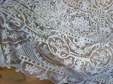 Beautiful Large Antique Victorian Handmade Needlelace Linen Tablecloth 66x100