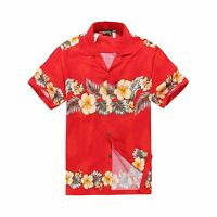 Men Tropical Hawaiian Aloha Shirt Cruise Luau Beach Party Red Cross Floral YEL