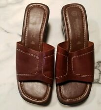 Montego Bay Club Womens Size 8.5 Leather Square Toe Sandals Brown Wedge Slides