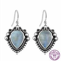 Boho Vintage 925 Silver Pear Natural Rainbow Moonstone Drop Dangle Hook Earrings