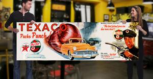 1950's Texaco Oil Garage Banner Gas Sign Mancave Gasoline Super cheif Hot Rod 55