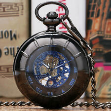 New Arrival Hollow Case Roman Number Skeleton Mechanical Hand Wind Pocket Watch