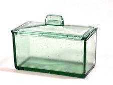Seltenes altes grünes eckiges Glas-Gefäß mit Glas-Deckel...  Arzt? Vorratsglas?