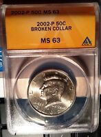 """HARD TO FIND KENNEDY .50 US ERROR """"SLABBED"""" COIN ANACS 2002-P"""