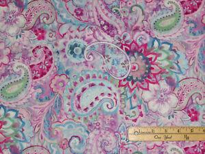 Wild Blush Purple/Blue Floral Paisley Danhui Nai Fabric   1/2 Yard   #89220-364
