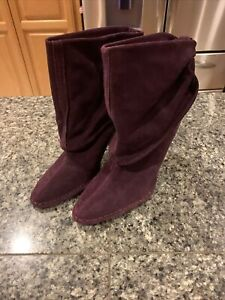 Hot In Hollywood Boots Womens 9 W Purple Heels Leather Slouch Ankle Fold