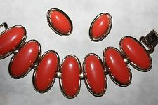 CORO signed LARGE TANGERINE BRACELET AND EARRING SET- EXCELLENT!!!!!!!