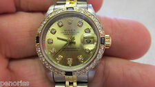 18k Gold & Stainless Steel Woman's Rolex Date Just Watch with Diamonds @ LOOK!