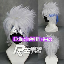 Short layered Hatake Kakashi Silver Gray Anime Cosplay Wig + free wig cap