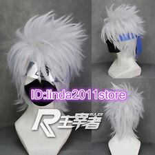 Short layered Hatake Kakashi Silver Gray Anime Cosplay Wig + free wig cap