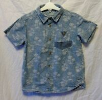 Boys TU Blue Tropical Palm Tree Denim Look Short Sleeve Casual Shirt Age 7 Years