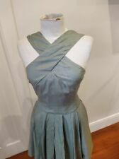 Blonde Venus vintage sage green Dior new look silk dress 50's style