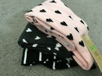 M&S 3 PAIRS KNEE HIGH SOCKS WITH HEARTS & STRIPES IN BLACK/PINK & GREY-BNWT