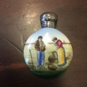 Antique 1912 hand painted English sterling top china ceramic perfume bottle