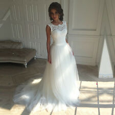 Simple Tulle A-Line white/ivory Beach Wedding Dress Sleeveless Custo Bridal Gown