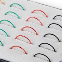 Wholesale 1Box/40pcs Multi Stainless Steel Nose Studs Ring Hoop Body Piercing