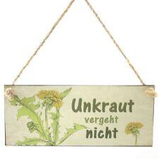 """Metallschild """"Unkraut vergeht nicht"""" Türschild Schild mit Spruch Sprüche Türdeko"""