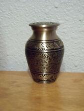 Pretty Brass Keepsake Mini Sharing Ashes Urn~Textured Bronze w/Black~