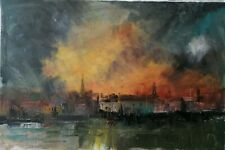More details for stornoway scotland oil painting - signed original