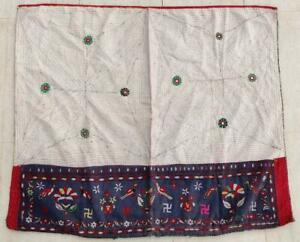 """38"""" x 32"""" Vintage Rabari Throw Embroidery Ethnic Tapestry Tribal Wall Hanging"""
