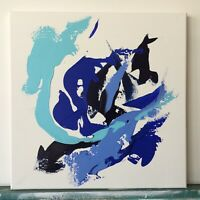 """Original Painting Abstract Acrylic Art on canvas  Blue Teal White 14""""x14"""""""