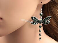 Gorgeous emerald green dragonfly crystal rhinestone silver plated earrings B40